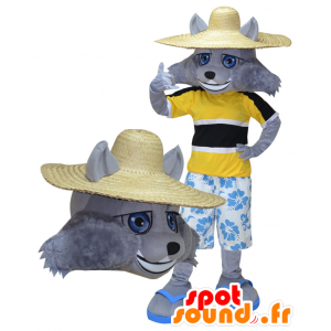 Grey Wolf Mascot vacationer held - MASFR032276 - Mascots Wolf