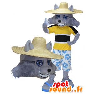 Grijze Wolf Mascot vakantieganger gehouden - MASFR032276 - Wolf Mascottes