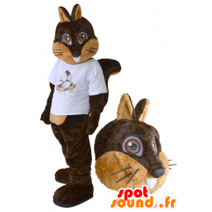 Mascot squirrel brown and beige with a white shirt - MASFR032277 - Mascots squirrel