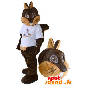 Mascotte d'écureuil marron et beige avec un t-shirt blanc - MASFR032277 - Mascottes Ecureuil