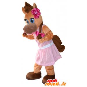 Braunes Pferd Maskottchen, Fohlen, hübsch und feminin - MASFR032281 - Maskottchen-Pferd