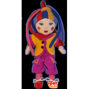 Mascotte de clown, de poupée arlequin très colorée