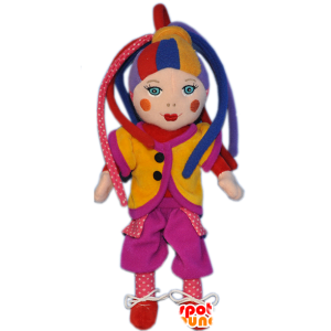 Clown mascotte van kleurrijke harlekijn pop