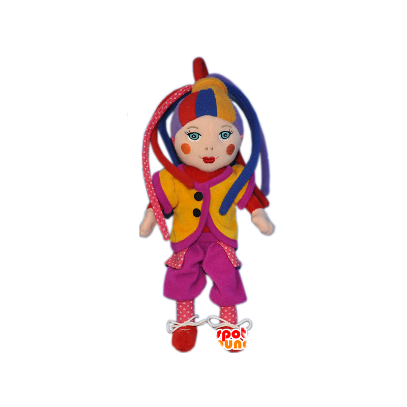 Clown mascot of colorful harlequin doll - MASFR032292 - Mascots circus