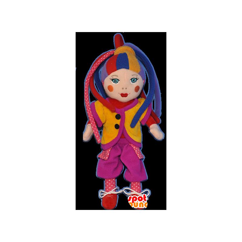 Maskottclown, mycket färgglad harlekindocka - Spotsound maskot