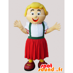 Mascot blond kvinne som holder Tyrolean