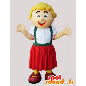 Maskotblond kvinna i zipline-outfit - Spotsound maskot