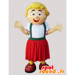 Mascot blonde woman holding Tyrolienne - MASFR032297 - Mascots woman