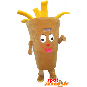 Cone Mascot giant fries, beige and yellow - MASFR032299 - Fast food mascots