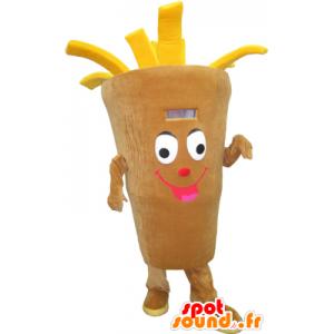 Cone Mascot jättiläinen perunoita, beige ja keltainen - MASFR032299 - Mascottes Fast-Food