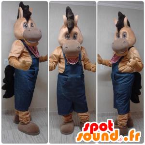 Pferd Maskottchen, braunes Fohlen in Overalls gekleidet - MASFR032303 - Maskottchen-Pferd