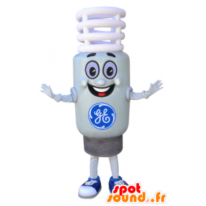 Mascot white bulb, and giant smiling - MASFR032308 - Mascots bulb