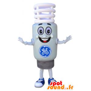 Maskotti valkoinen lamppu, ja jättiläinen hymyillen - MASFR032308 - Mascottes Ampoule