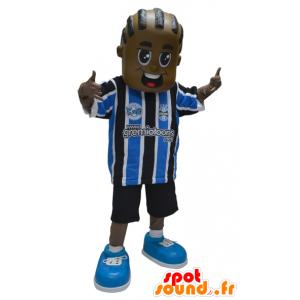 African ragazzo mascotte americana in abbigliamento sportivo - MASFR032315 - Mascotte sport