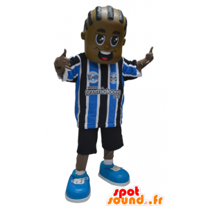 African American boy maskotka w sportowej - MASFR032315 - sport maskotka