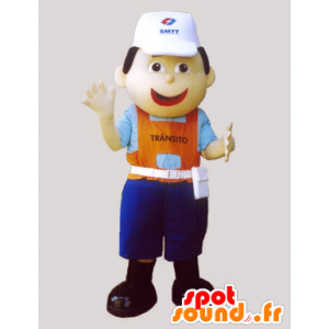 Arbeiter Maskottchen, mit einer Kappe und einem bunten Outfit - MASFR032317 - Menschliche Maskottchen