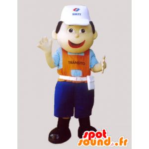 Arbeider mascotte, met een pet en een kleurrijke outfit - MASFR032317 - man Mascottes