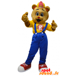 Teddy mascot dressed in overalls with a cap - MASFR032321 - Bear mascot