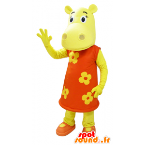 Dressed in yellow hippo mascot of an orange floral dress