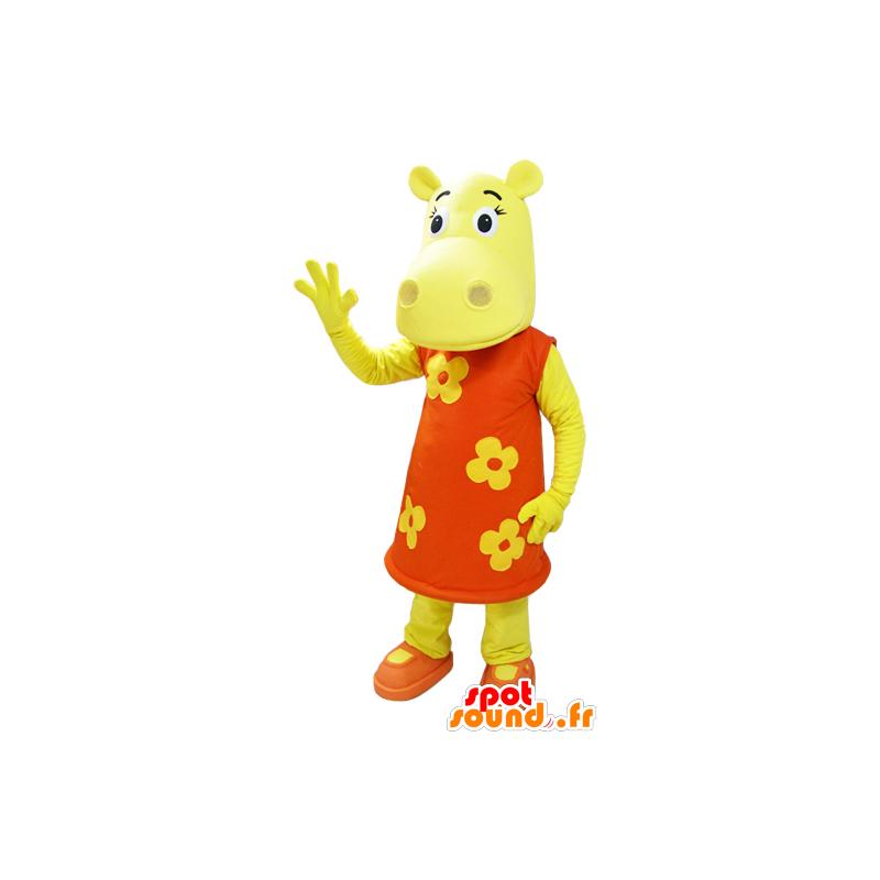 Dressed in yellow hippo mascot of an orange floral dress - MASFR032324 - Mascots hippopotamus