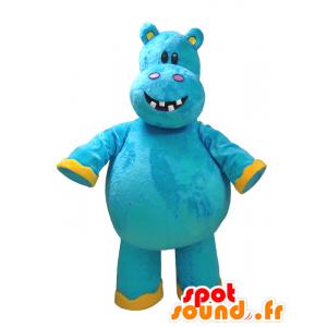 Mascotte d'hippopotame bleu et jaune, très amusant - MASFR032325 - Mascottes Hippopotame