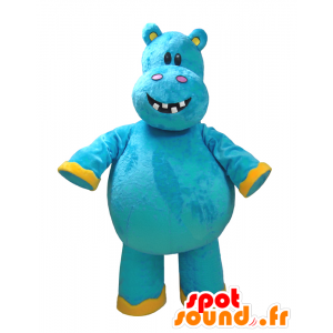 Mascotte d'hippopotame bleu et jaune, très amusant