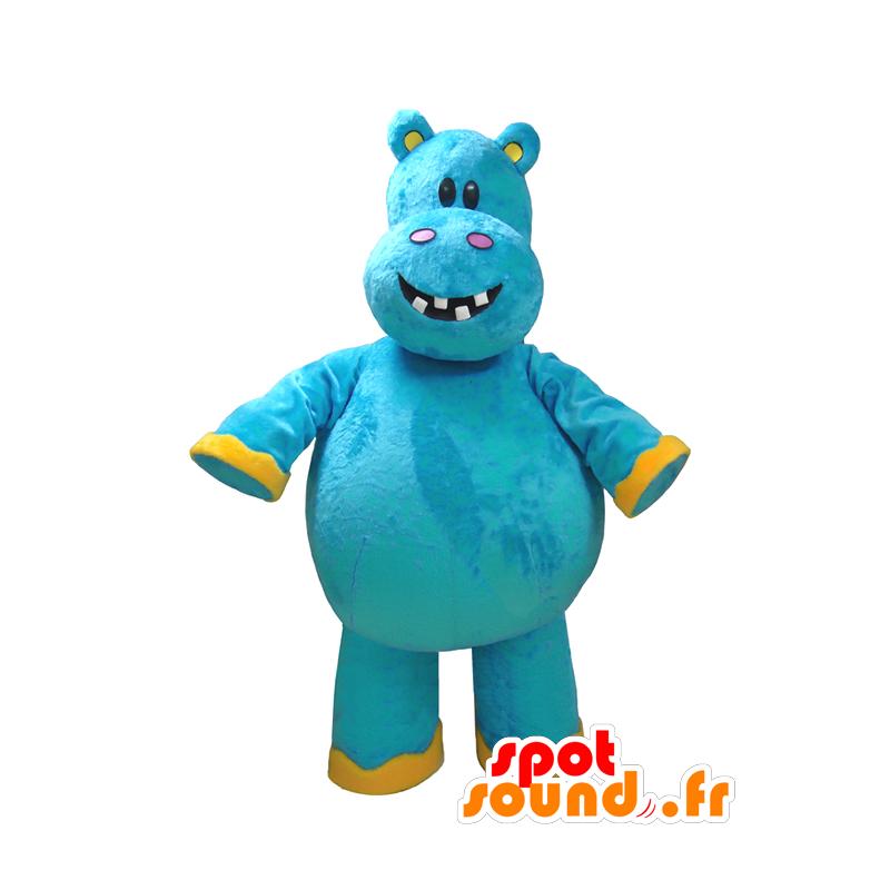 Blu mascotte e ippopotamo giallo, divertimento - MASFR032325 - Ippopotamo mascotte