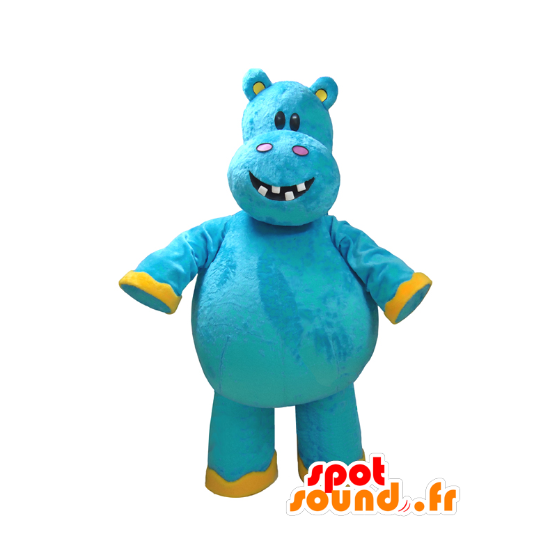 Mascot blau und gelb hippo, Spaß - MASFR032325 - Maskottchen Nilpferd