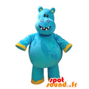 Mascot blue and yellow hippo, fun - MASFR032325 - Mascots hippopotamus