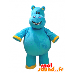 Mascot blått og gult flodhest, moro - MASFR032325 - Hippo Maskoter
