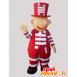 Rosso e bianco mascotte pupazzo di neve con un grande cappello - MASFR032326 - Umani mascotte