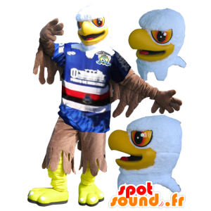 Aquila mascotte giallo, bianco e marrone in abbigliamento sportivo - MASFR032331 - Mascotte sport