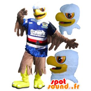 Mascotte d'aigle jaune, blanc et marron en tenue de sport - MASFR032331 - Mascotte sportives