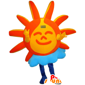 Mascotte de soleil orange et jaune avec un nuage - MASFR032335 - Mascottes non-classées