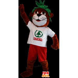Mascota de color marrón y blanco de la nutria con el pelo verde
