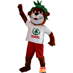 Otter brown and white mascot with green hair