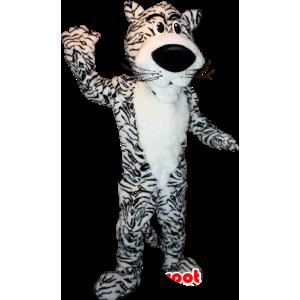 Weißer Tiger-Maskottchen und schwarz, süß und niedlich - MASFR032337 - Tiger Maskottchen