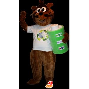 Mascot braun und schwarz Waschbär mit einer riesigen Batterie - MASFR032339 - Maskottchen von pups