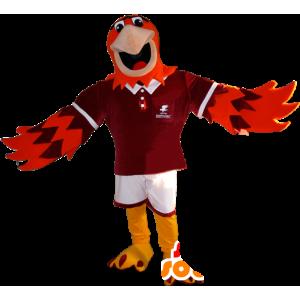 Maskotka pomarańczowy i fioletowy orzeł w sportowej - MASFR032345 - sport maskotka