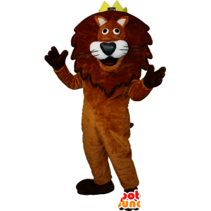 Brown and white lion mascot with a crown. Lion King - MASFR032349 - Lion mascots
