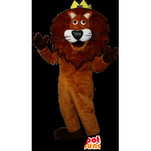 Marrone e bianco mascotte leone con una corona. re Leone - MASFR032349 - Mascotte Leone