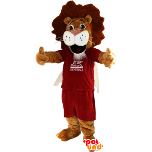 Brown and white lion mascot in sportswear - MASFR032352 - Sports mascot