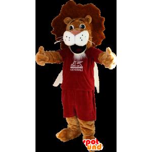La mascota del león marrón y blanco en ropa deportiva - MASFR032352 - Mascota de deportes