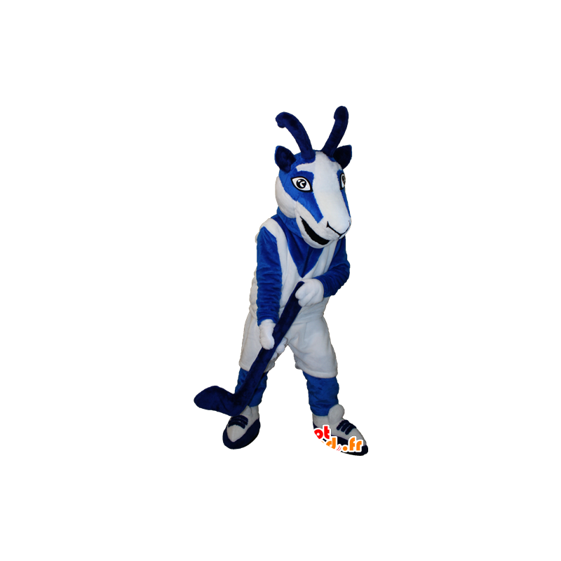 Goat mascot, blue and white goat hockey outfit - MASFR032353 - Goats and goat mascots