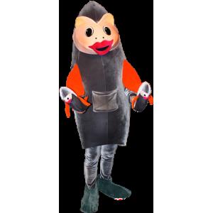Gray and orange fish mascot. Sardine mascot - MASFR032355 - Mascots fish