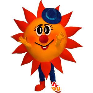 Mascotte de soleil rouge et jaune avec un chapeau bleu - MASFR032358 - Mascottes non-classées