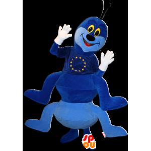 Mascot blaue Raupe sehr weiß und lächelnd - MASFR032361 - Maskottchen Insekt