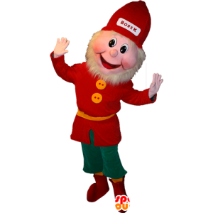 Bearded leprechaun mascot dressed in red and green - MASFR032363 - Christmas mascots