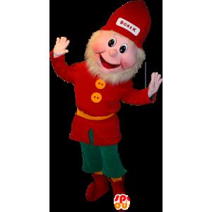 Vousatý skřítek maskot oblečený v červené a zelené - MASFR032363 - Vánoční Maskoti