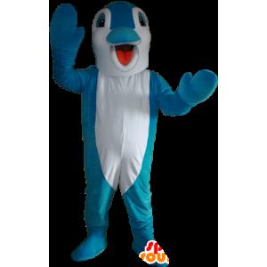 Mascotte de dauphin bleu et blanc. Mascotte de poisson - MASFR032368 - Mascottes Dauphin